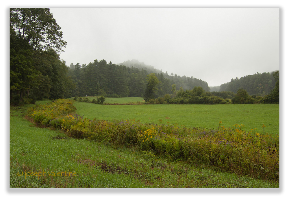 On a rainy day, mist hangs over the hills at Scott Farm in Dummerston, Vermont.