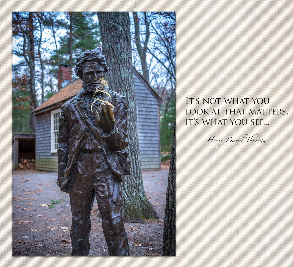 Thoreau sculpture at Walden Pond: Nikon D610 Nikkor 28-300mm f/3.5-5.6 1/60 sec f/4.2 44mm ISO 1000