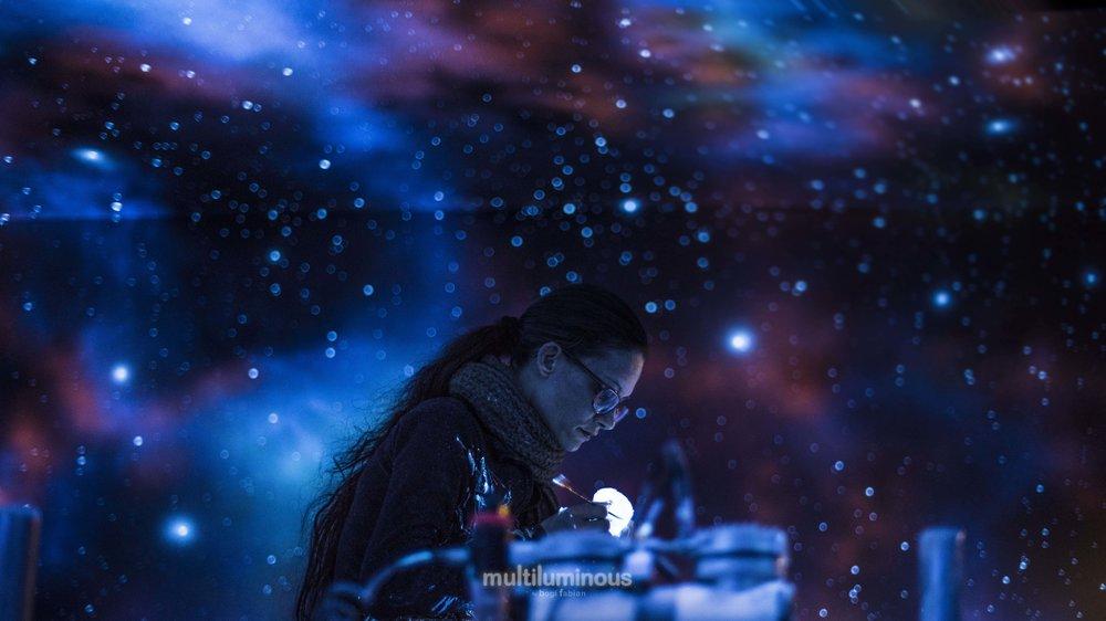 glow in the dark mural art print bogi fabian multiluminous ultraviolet universe moon galaxy