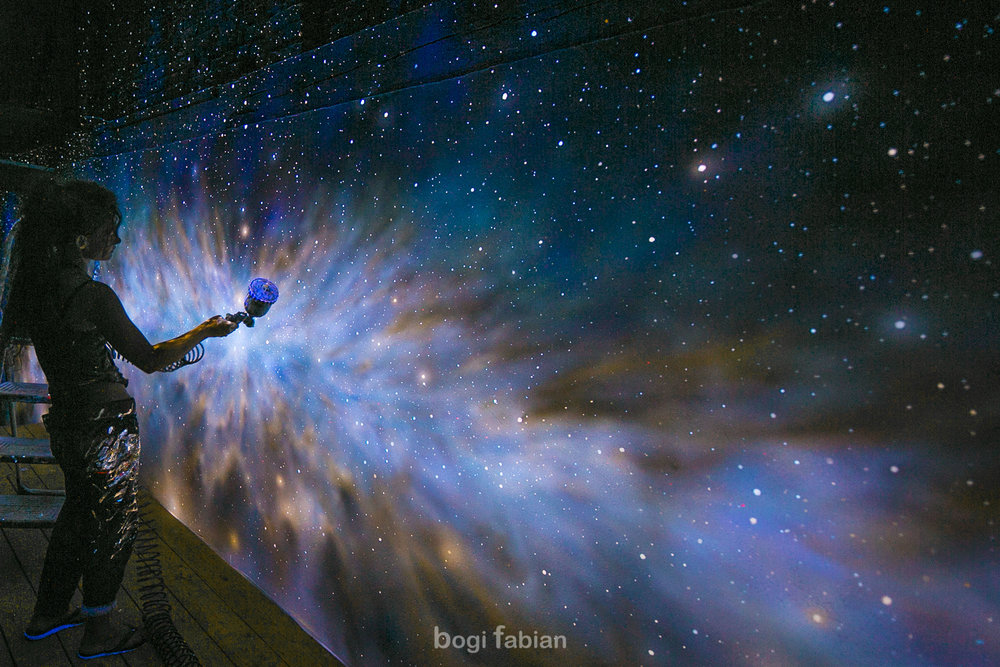 Bogi Fabian Ultraviolet Mural Glowinthedark Universe astronomy glow in the dark mural art print bogi fabian multiluminous ultraviolet universe moon galaxy
