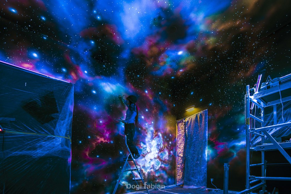 glow in the dark mural art print bogi fabian multiluminous ultraviolet universe moon galaxy