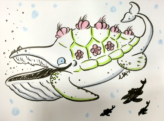 Botanical Turtle Whale