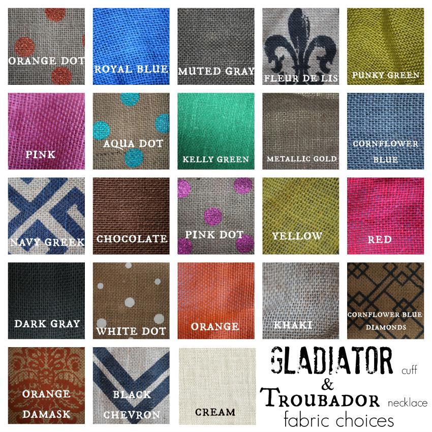 Gladiator & Troubadour Fabric Choices-850
