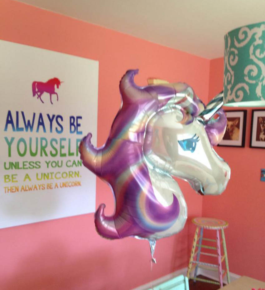 unicorn balloon and canvas