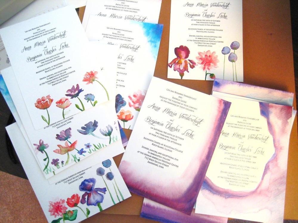 DIY watercolor wedding invitations Anna Maria Locke