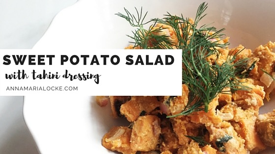 Roasted Sweet Potato Salad with Tahini Dressing