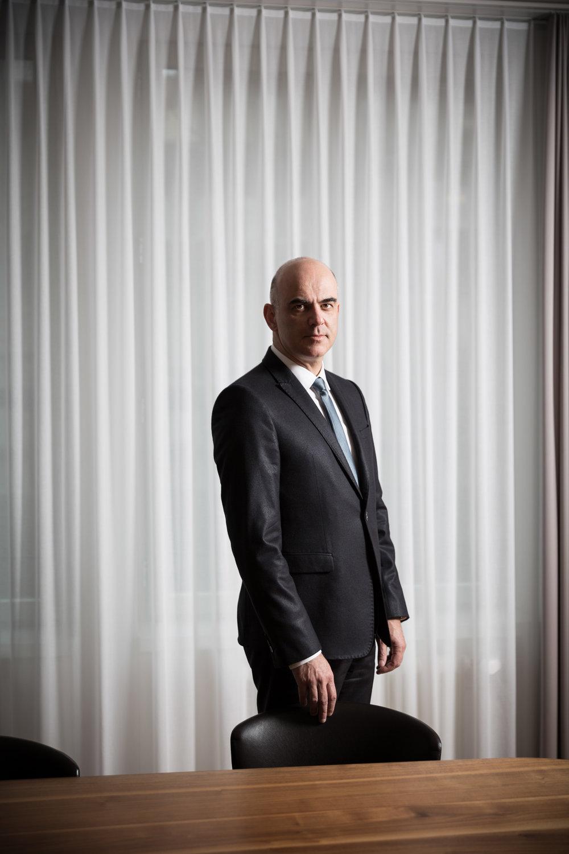 Alain Berset, conseiller fédéral, président de la Confédération en 2018. Janvier 2018.