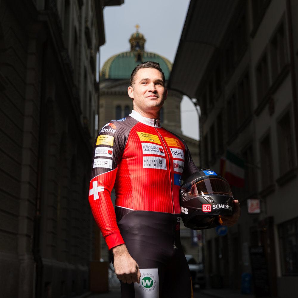 Marcel Dobler, conseiller national PLR et sportif de pointe, pratiquant le bobsleigh en compétition. Janvier 2017.