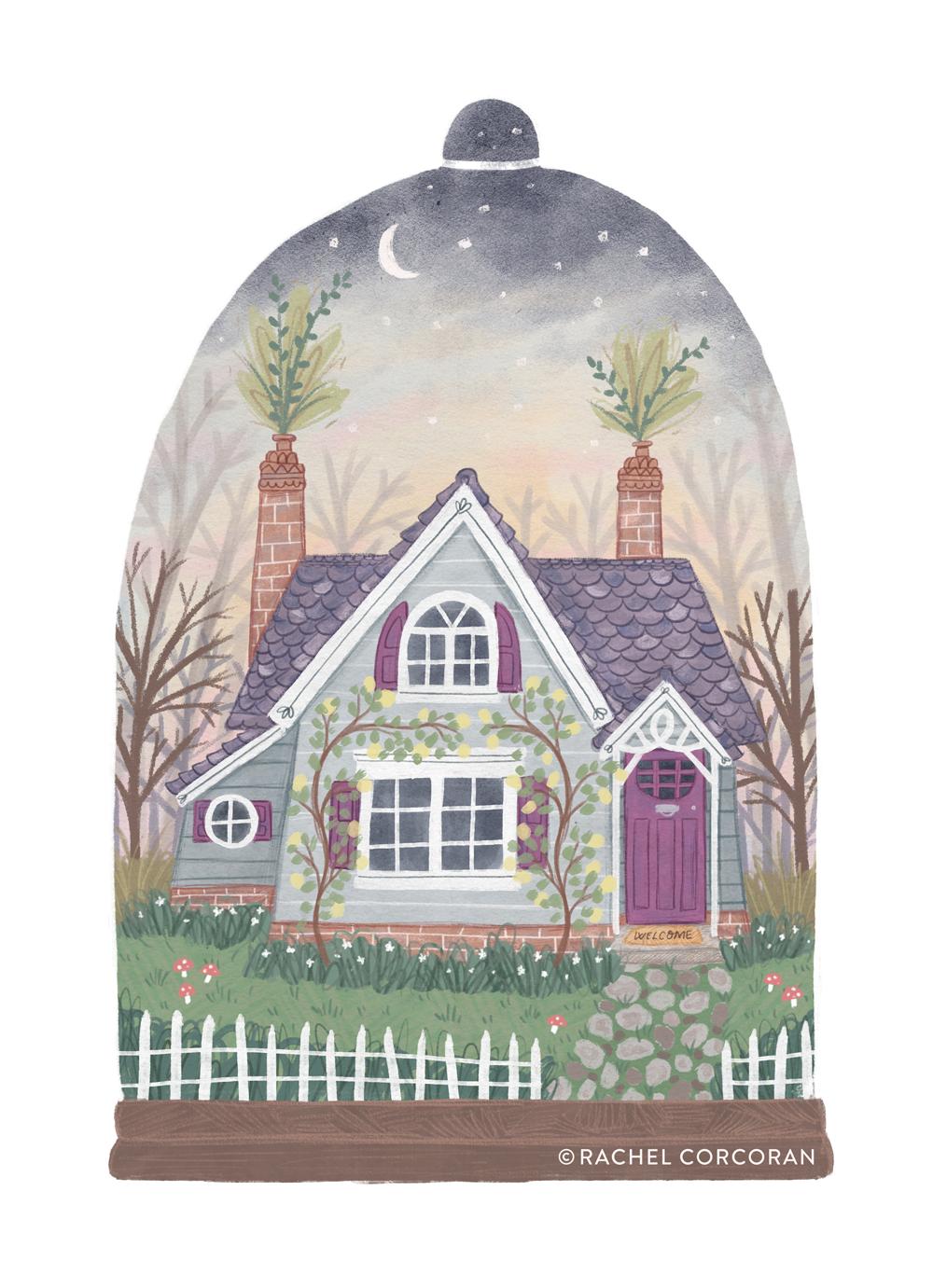 Tiny house terrarium illustration by Rachel Corcoran