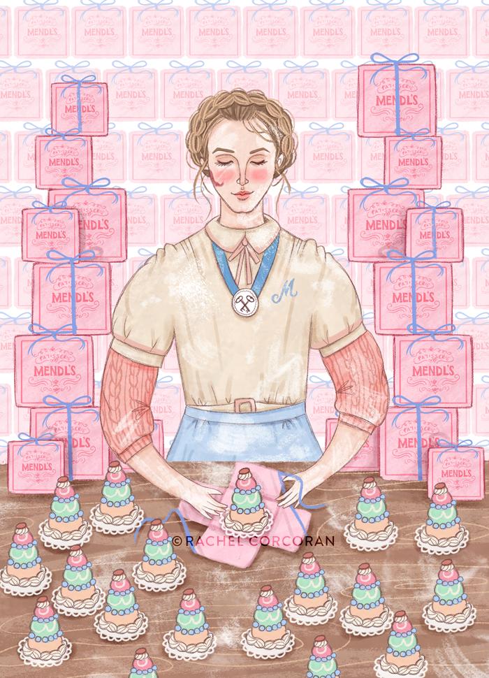 Agatha, Grand Budapest Hotel illustration by Rachel Corcoran