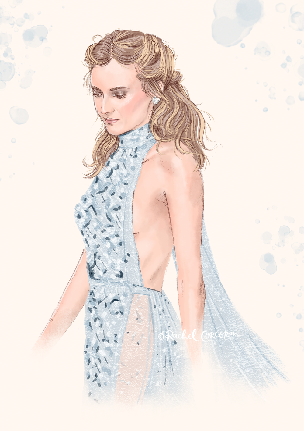 Diane Kruger Fashion illustration by Rachel Corcoran