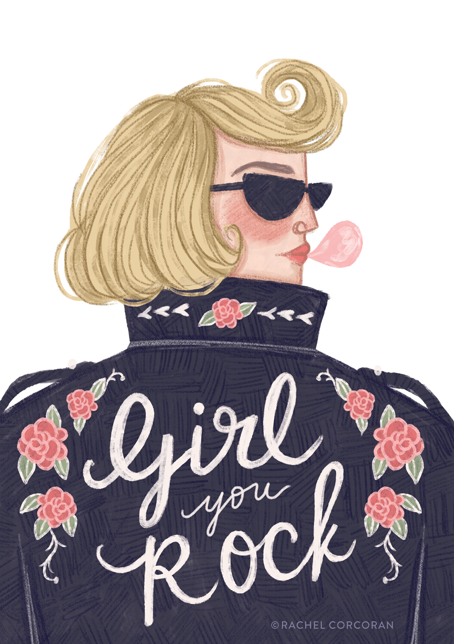 Girl You Rock illustration by Rachel Corcoran