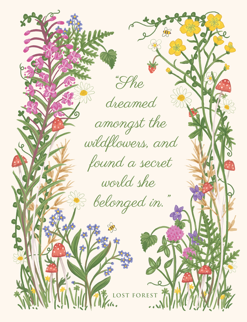 Lost Forest wildflower illustration by Rachel Corcoran