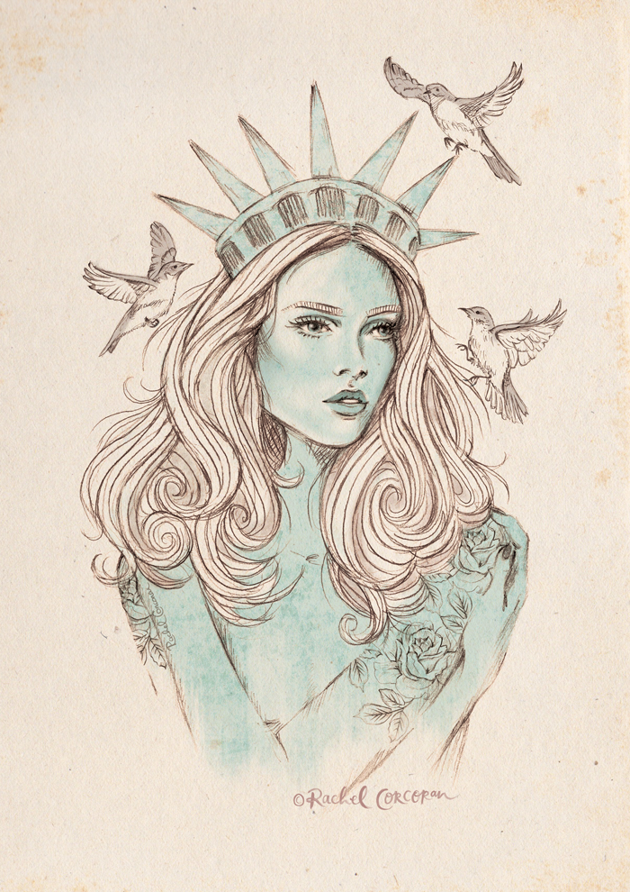 Liberte fashion illustration by Rachel Corcoran
