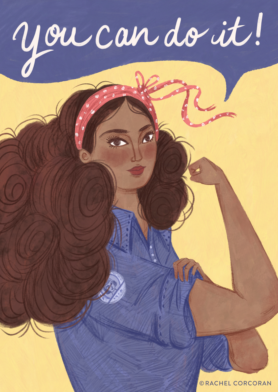 Rosie The Riveter illustration by Rachel Corcoran