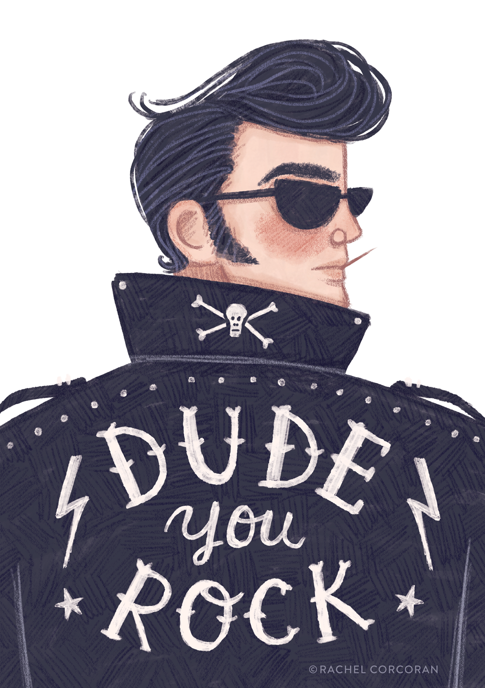 Dude You Rock illustration by Rachel Corcoran