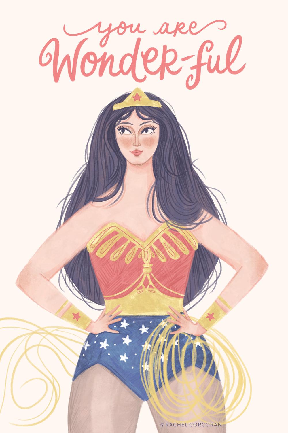 Wonder Woman illustration by Rachel Corcoran