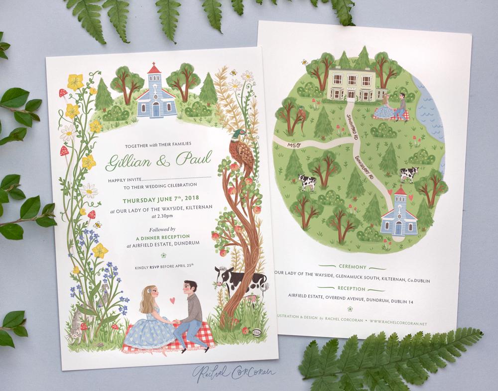 Irish Wildflower Wedding Stationery Illustration and Design by Rachel Corcoran