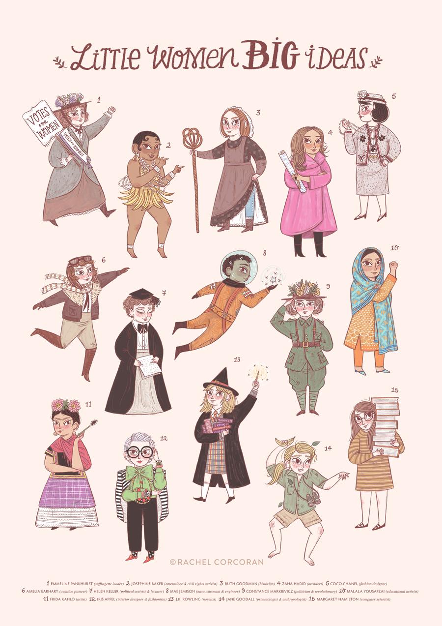 Little Women Big Ideas illustration by Rachel Corcoran