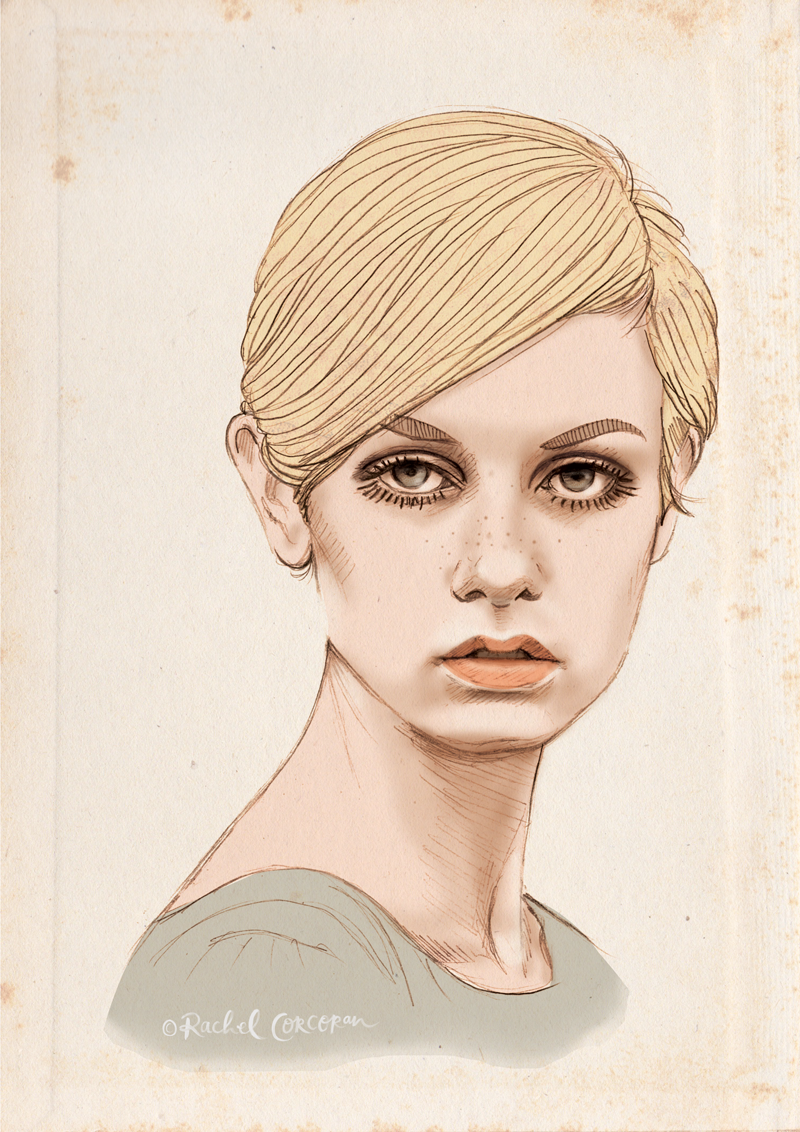 Twiggy fashion portrait illustration by Rachel Corcoran
