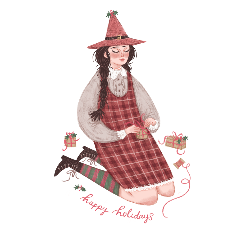 Christmas witch illustration by Rachel Corcoran