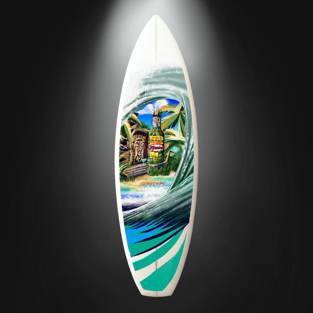Mockup for hand-painted surfboard for El Yucateco - Created in Photoshop.