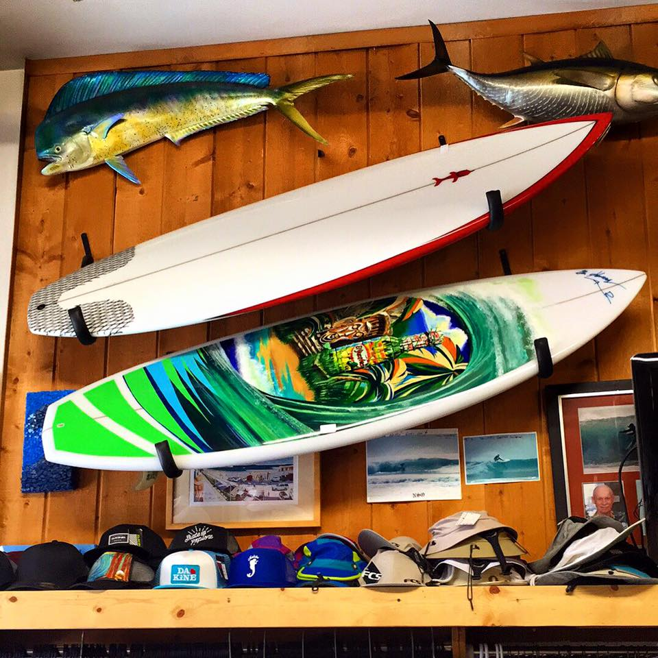 Final Hand Painted Surfboard for El Yucateco on display at Kennedy's Surf Shop in Woodland Hills, CA.