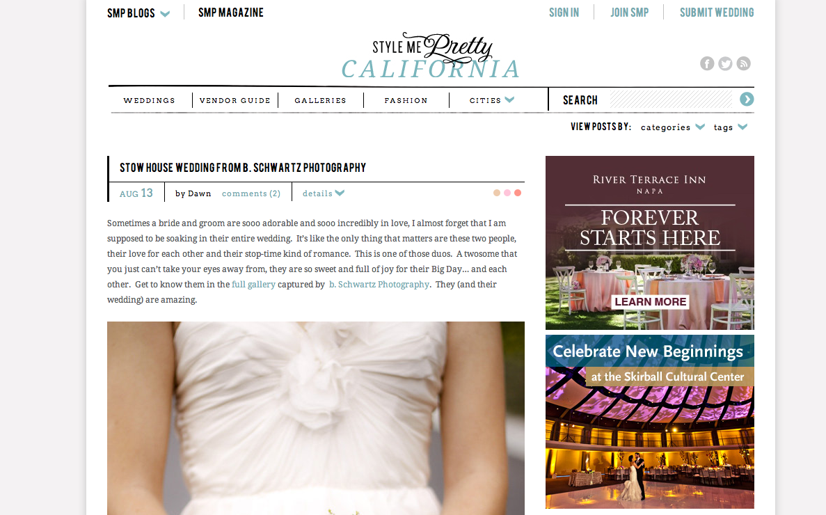Excited to have bethany and mulchs wedding on Style Me Pretty California today! Check it out!  http://www.stylemepretty.com/california-weddings/2013/08/13/stow-house-wedding-from-b-schwartz-photography/