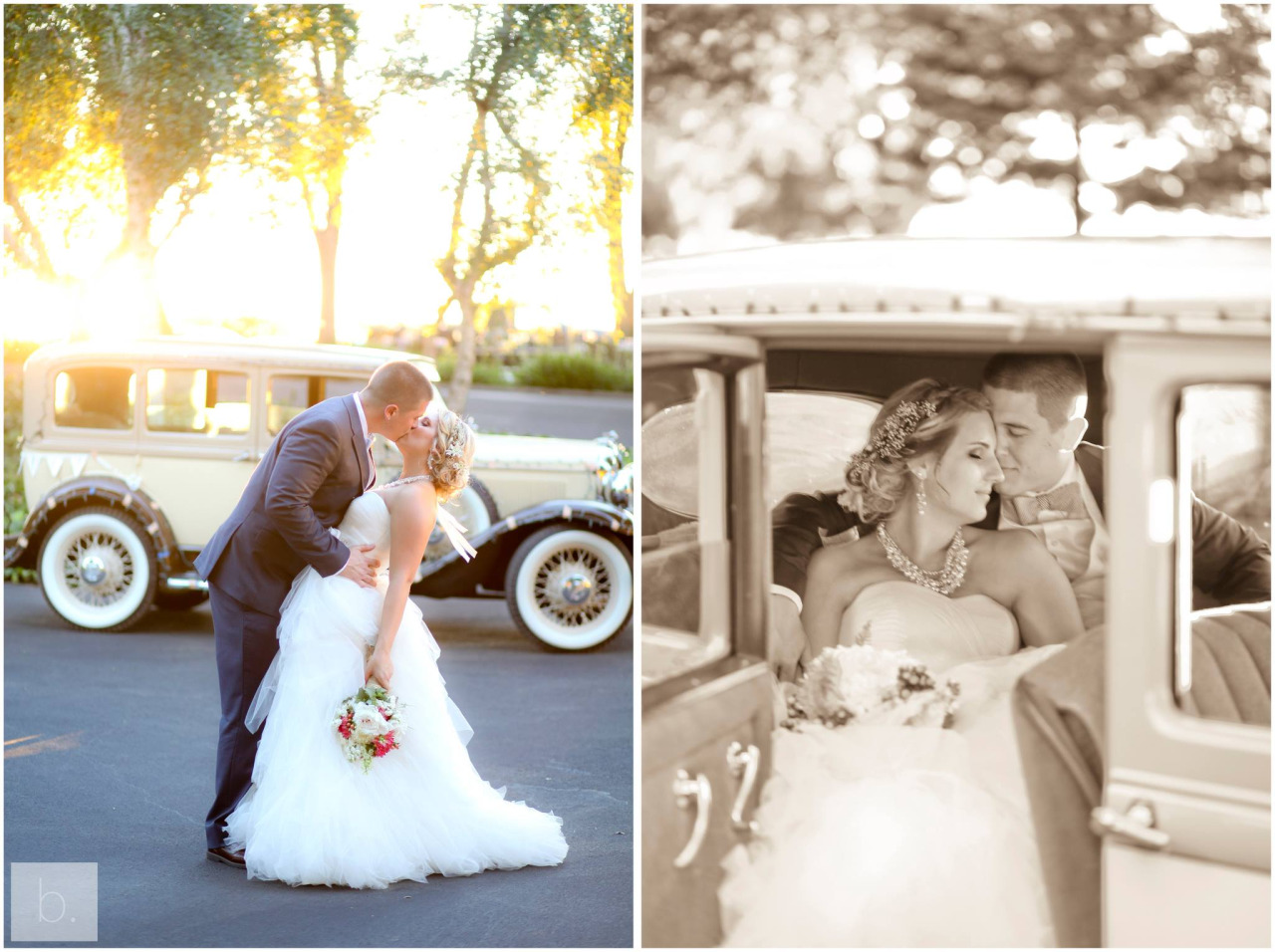 beautiful couple, vintage car and perfect light… Swoon!     ©bschwartzphotography.com