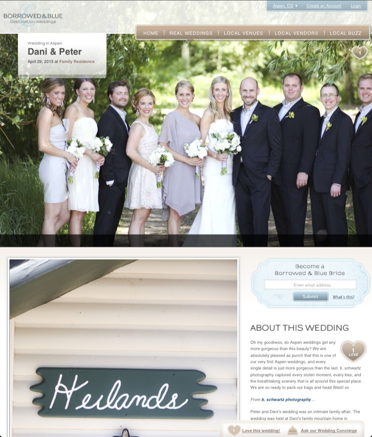 So excited to be featured on Borrowed & Blue today! Thank you for the beautiful feature. http://www.borrowedandblue.com/aspen/weddings/dani-peter