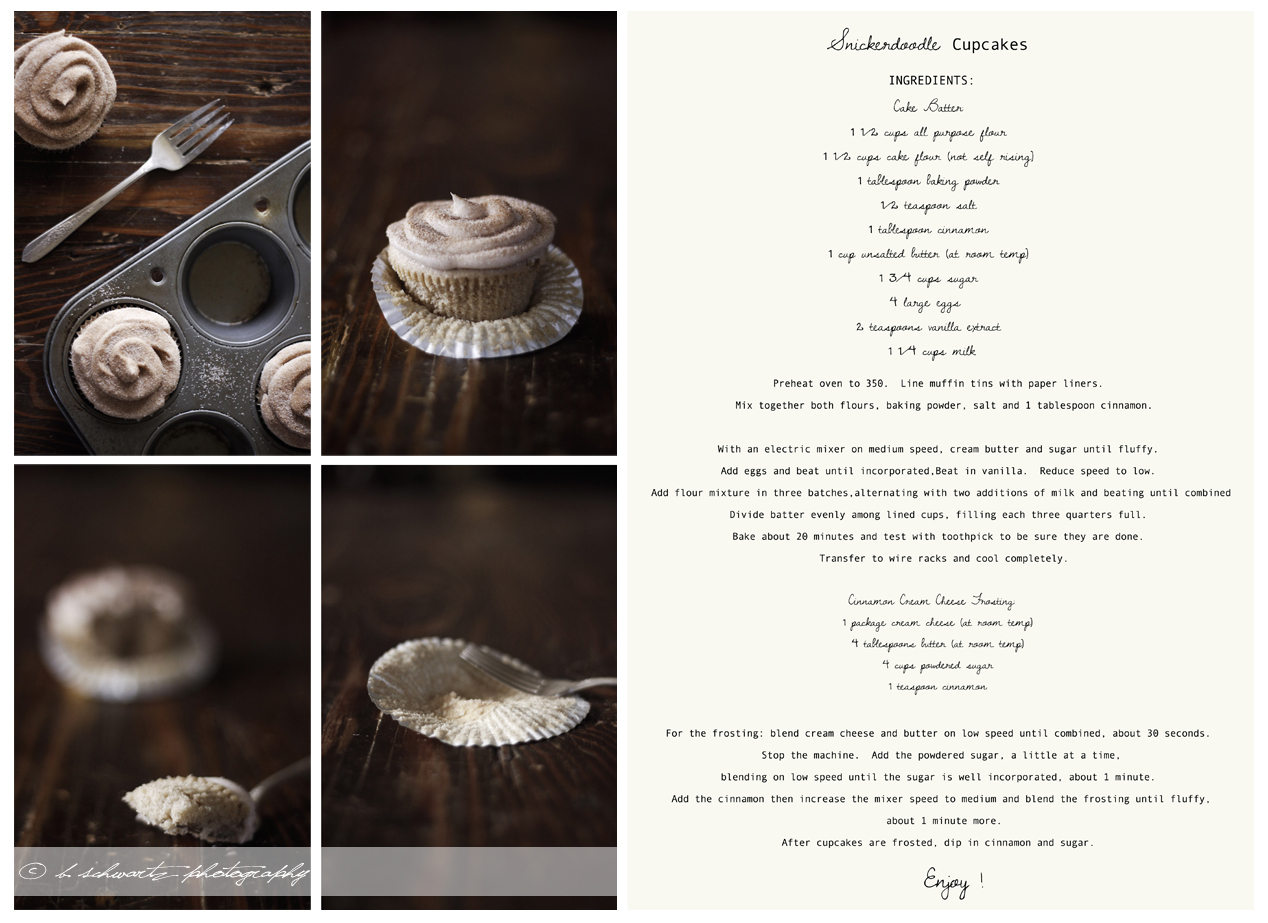 At long last the recipe for Snicker-doodle Cupcakes! You all must try them out they are amazing! ©bschwartzphotography
