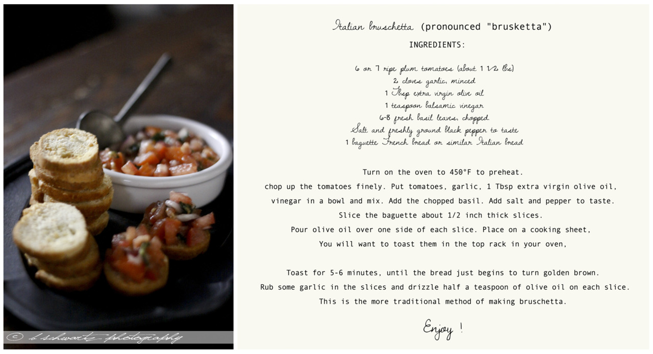 Easy and amazing bruschetta recipe  ©bschwartzphotography