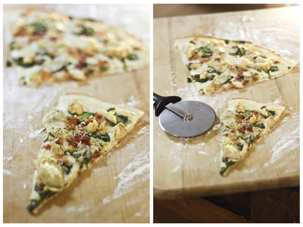 Spinach, Bacon, Artichoke Pizza courtesy of my friend Christina Ozment    ©bschwartzphotography