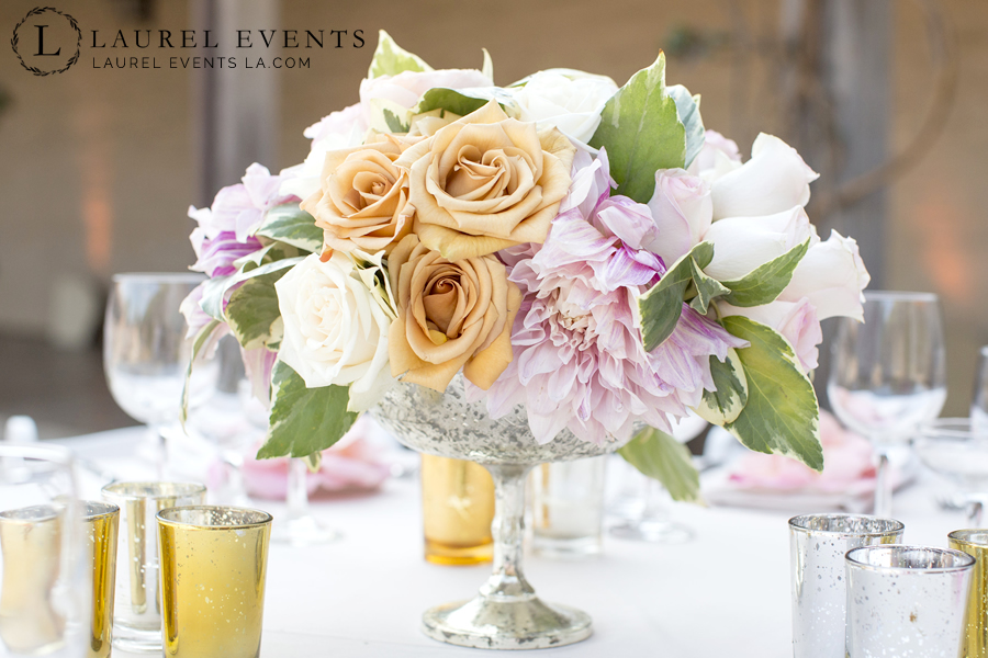Pink, coral, and champagne floral centerpeice for luxe wedding