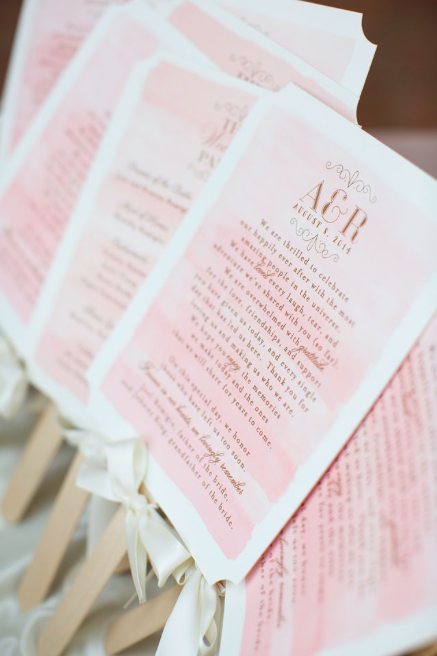 Photo by Skyla Walton, custom wedding ceremony programs at Laurel Events LA Santa Barbara Wedding