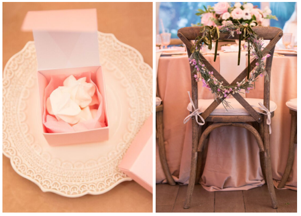 Mini meringue favors for guests and a whimsical wreath for the mommy-to-be! Design & Coordination by Laurel Events LA.
