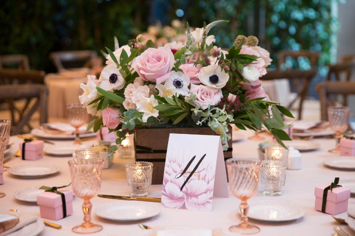 Chic velvet and blush elements guided the design of the baby shower by Laurel Events LA. All photographs by Melody Melikian.