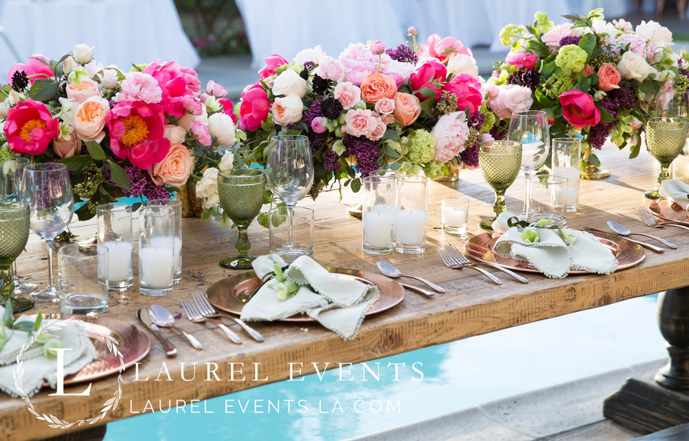 Pool-Side Head Table @ Gorgeous Palm Springs Wedding