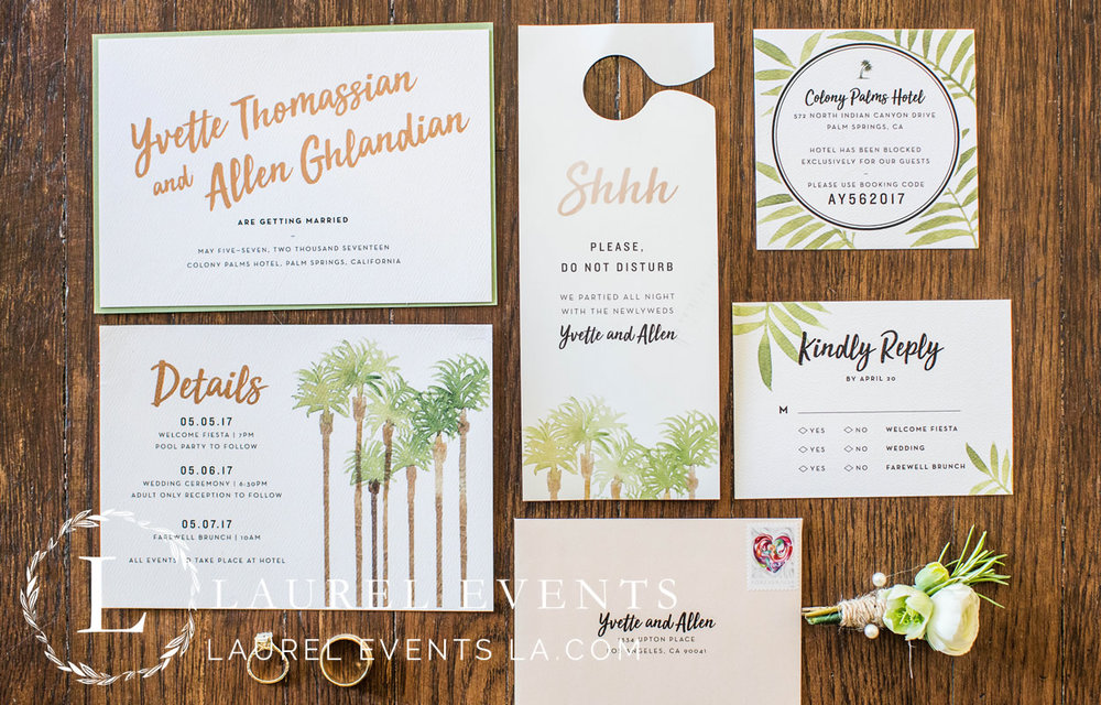 Custom-hand painted wedding invitations. Though unconventional, the beautiful watercolor palm tree design perfectly captured the relaxed setting of a Palm Springs Wedding.