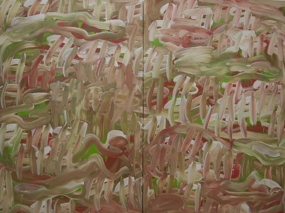 "MOST OF ALL, 2014 Acrylic on two canvas panels, 60"" x 80"" (152.4 X 203.2 cm)"