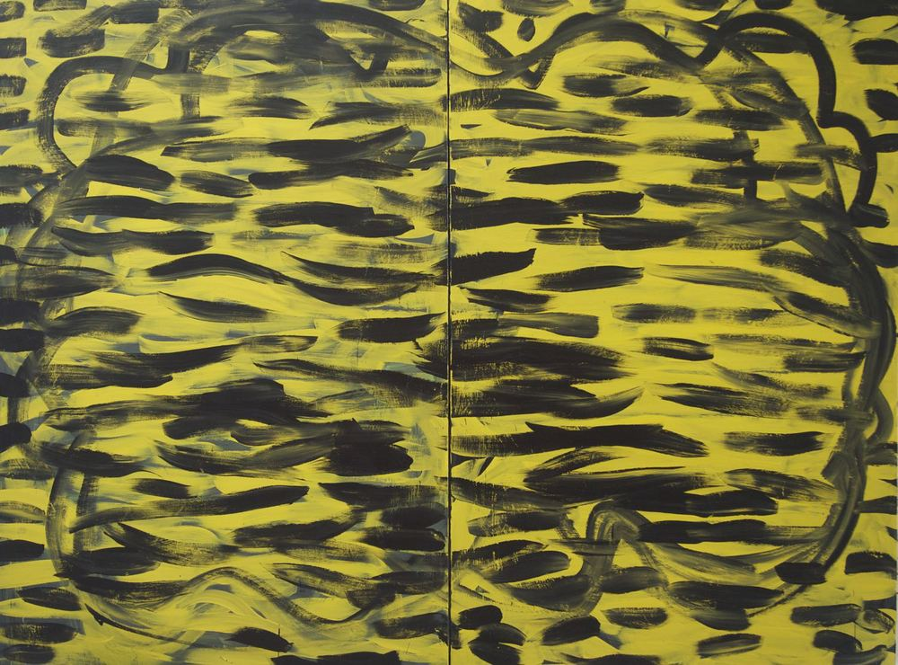 "THE TIGER'S ODDS (FOR MIKE KELLEY), 2013 Acrylic on two canvas panels, 60"" x 80"" (152.4 x 203.2 cm)"