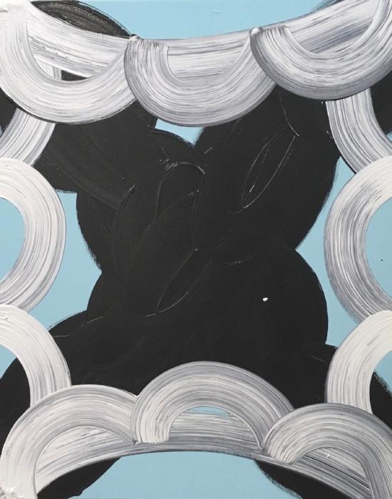 Minnie 2017, acrylic on wood, 30 x 24 x 2 in (76.2 x 60.96 cm)