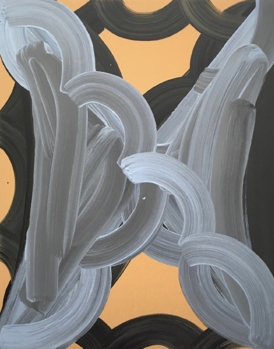 Tuxedo 2017, acrylic on wood, 30 x 24 x 2 in