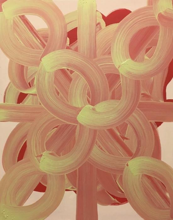 Bloom 2017, acrylic on wood, 30 x 24 x 2 in (76.2 x 60.96 cm)