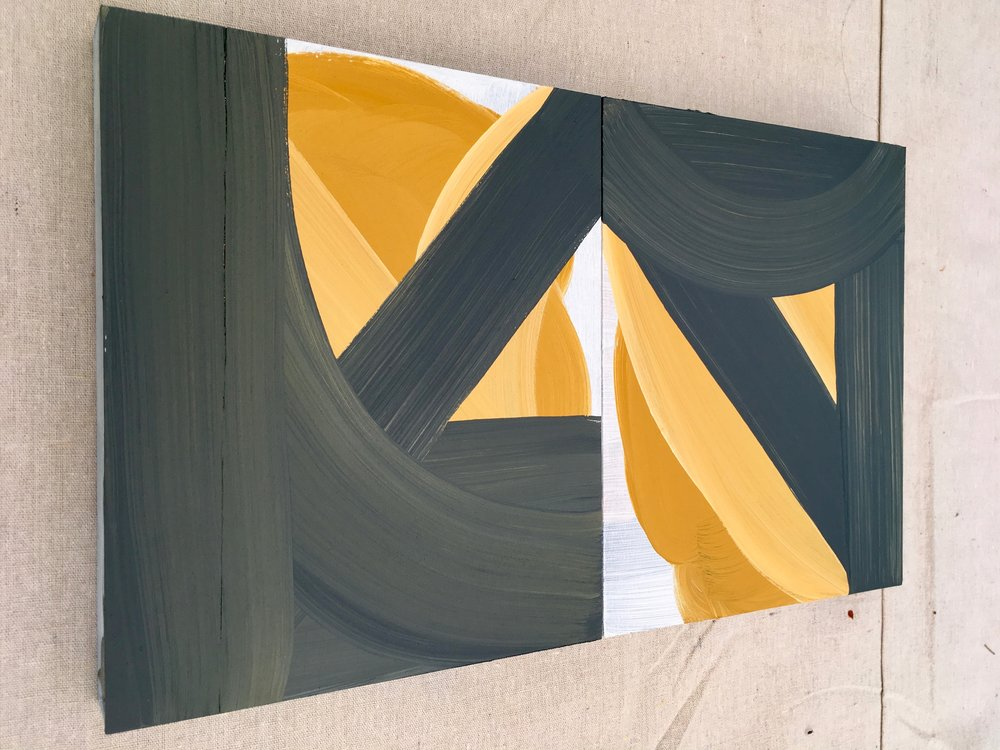 Anne-Marie Cosgrove,  Turbulence 2018 Acrylic paint on wood, diptych 12 x 20 x 2 inches (30.48 x 50.8 x 5.08 cm)