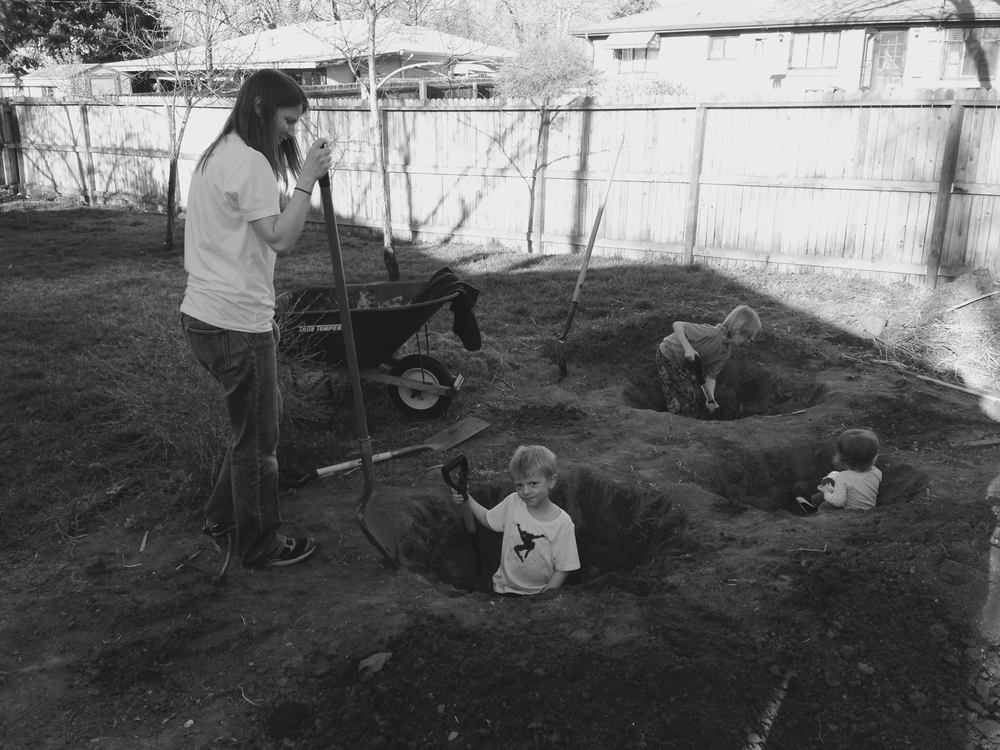 Parenting Tip: You can till the soil and wear your children out by telling them that there's treasure in the garden.