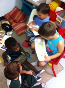 Some of our Lighthouse Kids practicing reading.