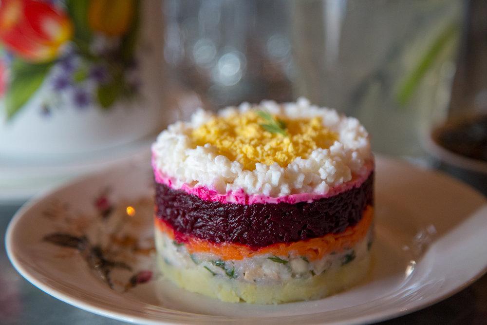 Russian beet salad at Kachka in Portland, Oregon (for SF Chronicle).