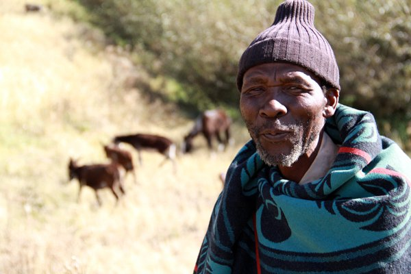 A Basotho man in a tiny village of Lesotho, Africa.