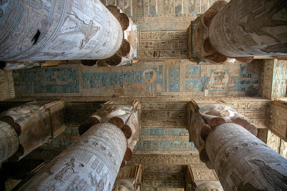 A zodiac ceiling in Dendara Temple, in the Egyptian desert.